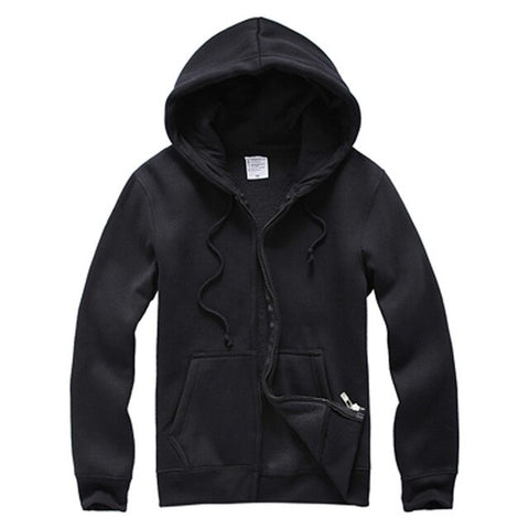 Men 's Black Hooded Fleece Cotton Cardigan Long Sleeve Sudaderas Hombre Streetwear Hoodies Clothing For Male