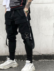 Side Pockets Pencil Pants Mens Hip Hop Patchwork Cargo Ripped Sweatpants Joggers Trousers Male Fashion Full Length Pants