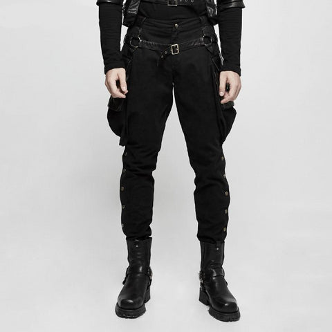 Gothic Brand New Punk Rave Men Black Steam Steampunk Riding Pants Trousers