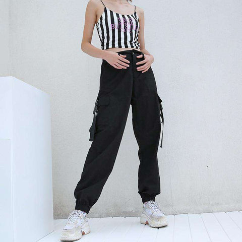 Techwear Black High Waist Loose Cargo Pants korean streetwear style