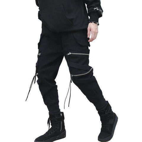 New Hip Hop Streetwear Joggers Men Black Zipper Ribbons Harem Pants Cotton Casual Slim Street Style Ankle Length Sweatpants Men
