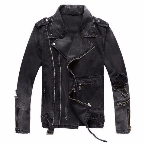 New Fashion Hi Street Mens Ripped Denim Jackets With Multi Zippers Streetwear Distressed Motorcycle Biker Jeans Jacket
