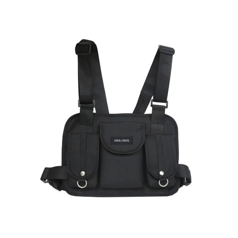 Techwear black chest rig bag korean streetwear style