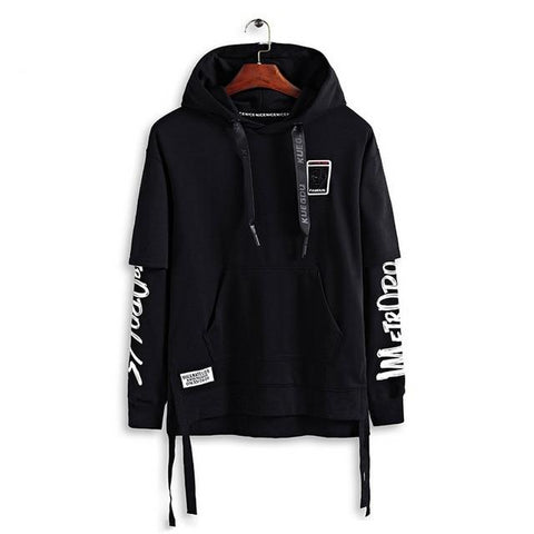 Ribbon Concise Style Fashion Badges Pullover Long Sleeve Hoodies Mens Hip Hop Solid Pocket Casual Hooded Sweatshirts Streetwear
