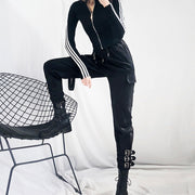 Techwear Women Lace-up Buckles Strap Boots Pants korean streetwear style