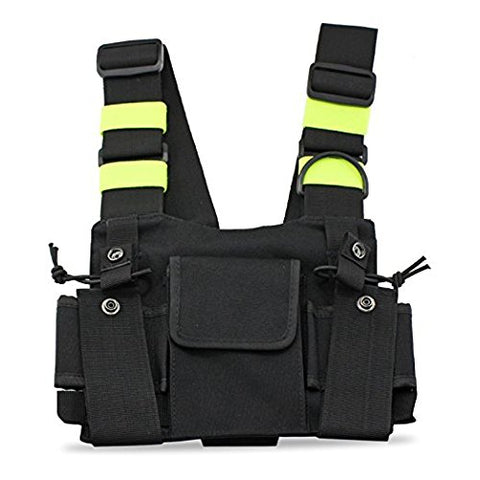 Green Tactical Carrying Bag Harness Front Bag Pouch Carrying Case For Kenwood Motorola TYT Baofeng Walkie Talkie Vest Deck Chest Bag