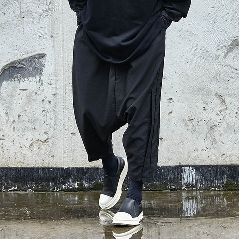 Gothic Dark Black Cross Pants Male Elastic Wist Loose Trousers Oversize Punk Hip Hop Harem Pants