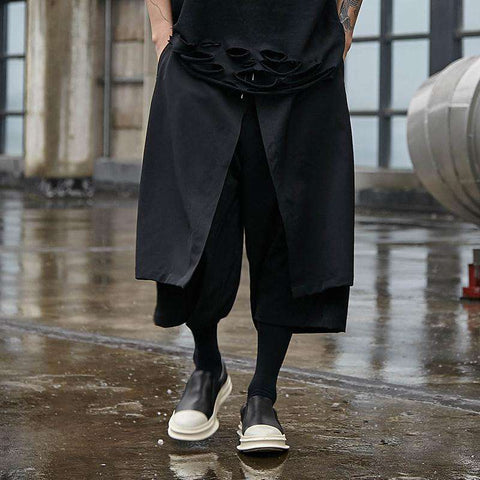 Men's Punk Gothic Black Wide Leg Pants Streetwear Male Straight Harem Trousers Skirt Pant High Street Pants