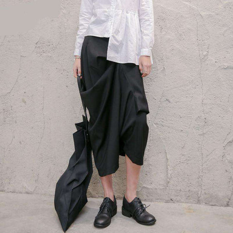 XITAO Irregular Black Cross Women Pants Summer Casual High Waist Original Design Midi Pants Korean Style 2019 Clothes KZH1859