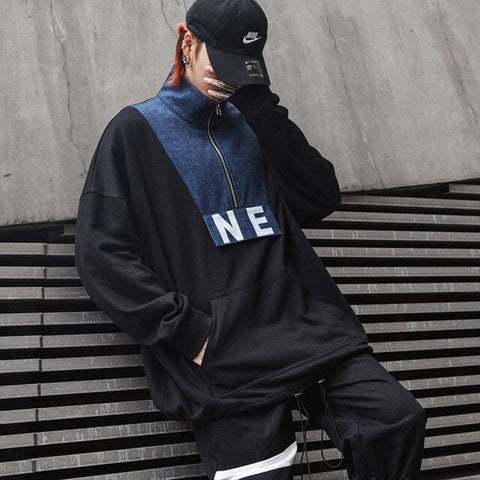 New Swag Darkly Stylish Patchwork Printed Letter Loose Mens Sweatshirts Hip Hop Autumn Male Youth Punk Pullover Coats Streetwear