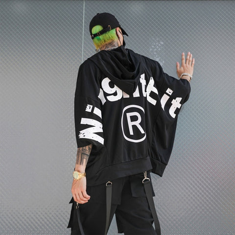 New Stylish Trend Street Punk Three Quarter Sleeve Black Printed Letter Men's Hooded Sweatshirts Hip Hop Loose Male Thin Hoodies