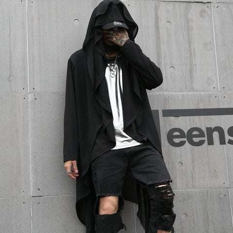 Darkly Stylish High Street Gothic Black Men's Hooded Long-Sleeve T-Shirt Cloaks Hip Hop Male Casual Tops Tees hotboom Streetwear