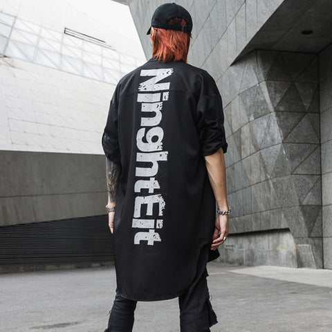 Darkly Stylish Printed Letters Men's Long-Sleeve Shirts Hip Hop Autumn Male Thin Stage Youth Punk Shirt Streetwear Wrap