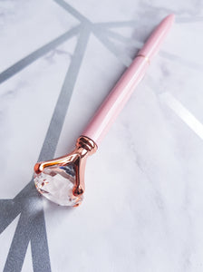 "alt=""pink and rose gold pen with crystal top"""