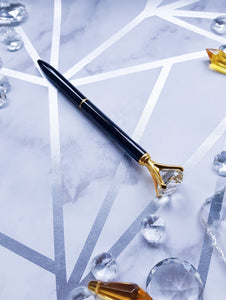 "alt=""black and silver pen with crystal diamond top"""