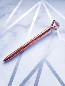 "alt=""rose gold pen with crystal top"""