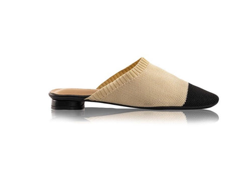 KNIT MULES - Nude/Black