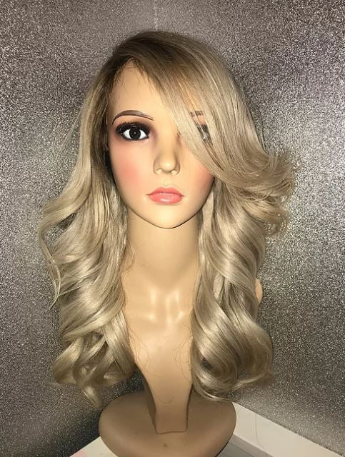 Stormi Ash blonde Lace frontal wig machine sewn