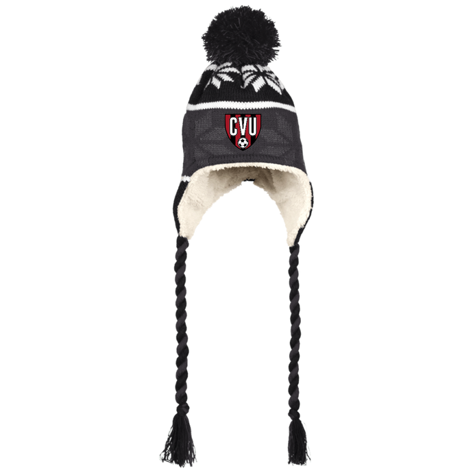 CVU Sherpa Hat with Ear Flaps and Braids