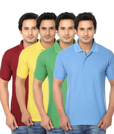 Pack Of 4 Men's Cotton Polo-T Shirt