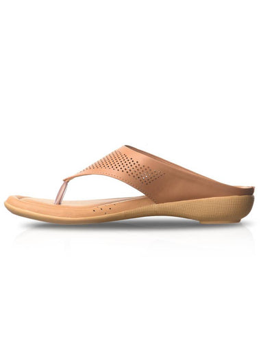 Beige Solid Synthetic Leather Slippers
