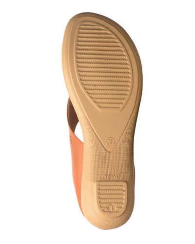 Tan Solid Synthetic Leather Slippers