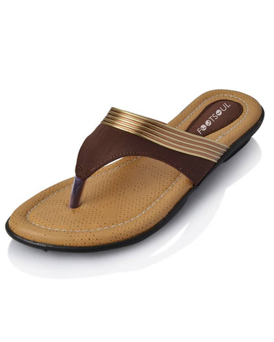 Brown Solid Synthetic Leather Slippers