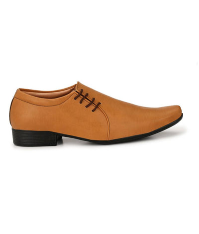 Men's Tan Slip-on Party Wear Synthetic Formal Shoes