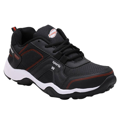 Black Self Design Lace Up Sports Running Shoes