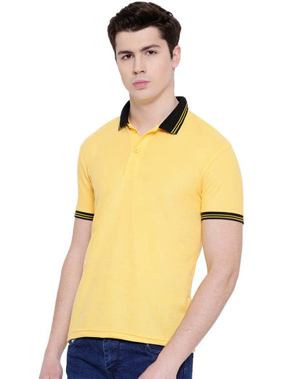 MenYellow Solid Cotton Blend Polo T-Shirt