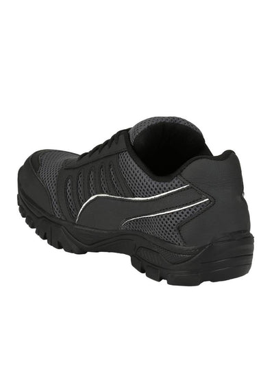 Men's Black Solid Mesh Sports Shoes
