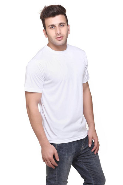 Men White Polyester Blend Half Sleeves Round Neck Tees