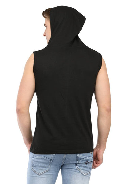 Men Black Cotton Solid Cut Hooded Tees