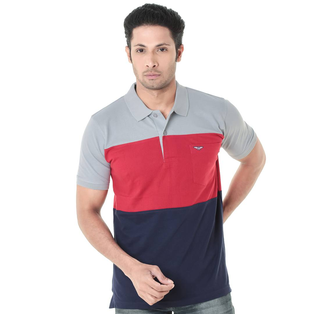 Men's Multicoloured Cotton Colourblocked Casual Polos T-Shirts