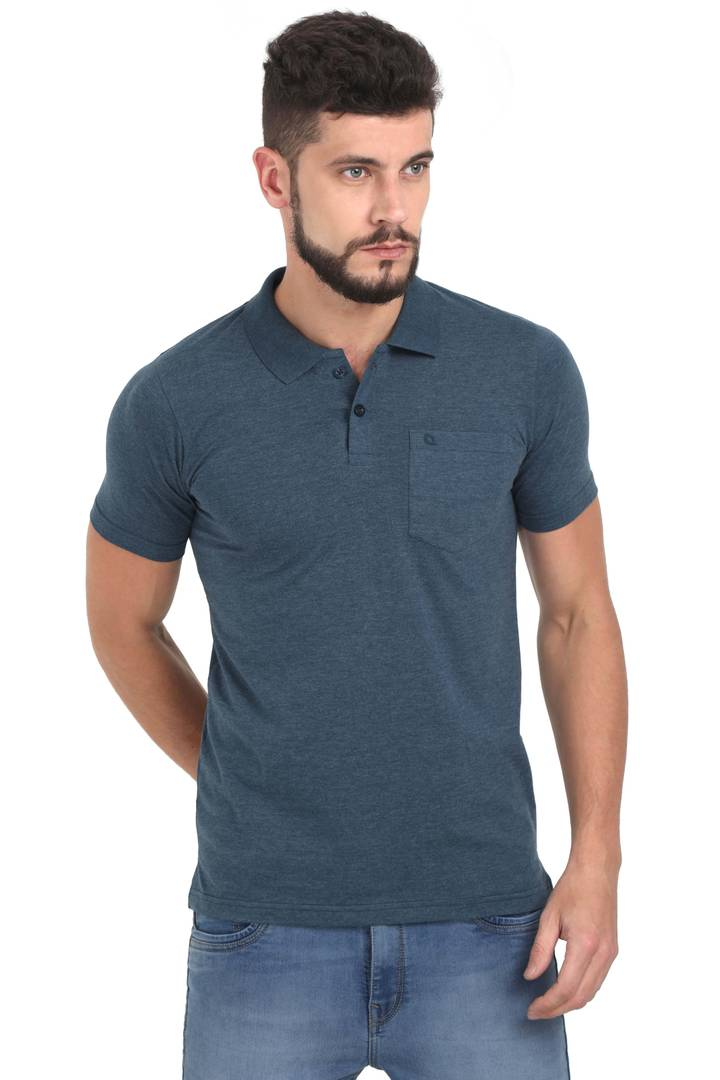 Men Grey Solid Cotton Polo T-shirt