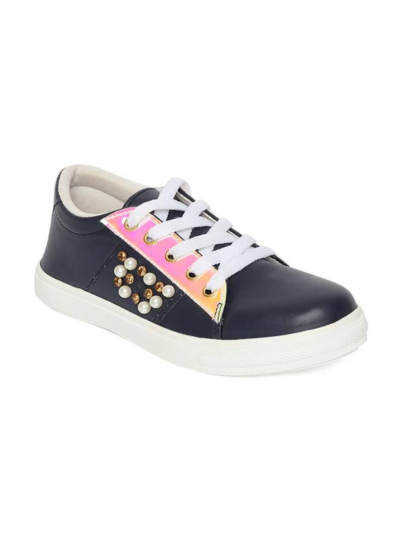 Broad Toe Navy Blue Comfortable Flat Sneakers for Women