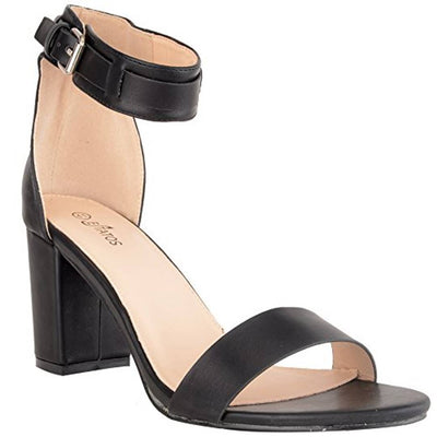 Matte Leather Ankle Strap Block High Heeled Black Sandals