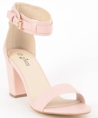 Matte Leather Ankle Strap Block High Heeled Pink Sandals