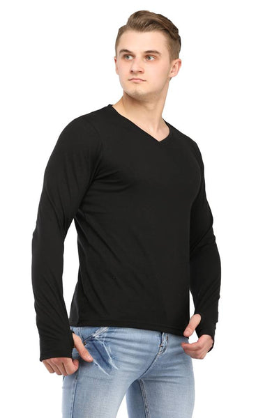 Black Solid Cotton V Neck Thumb Hole T-Shirt