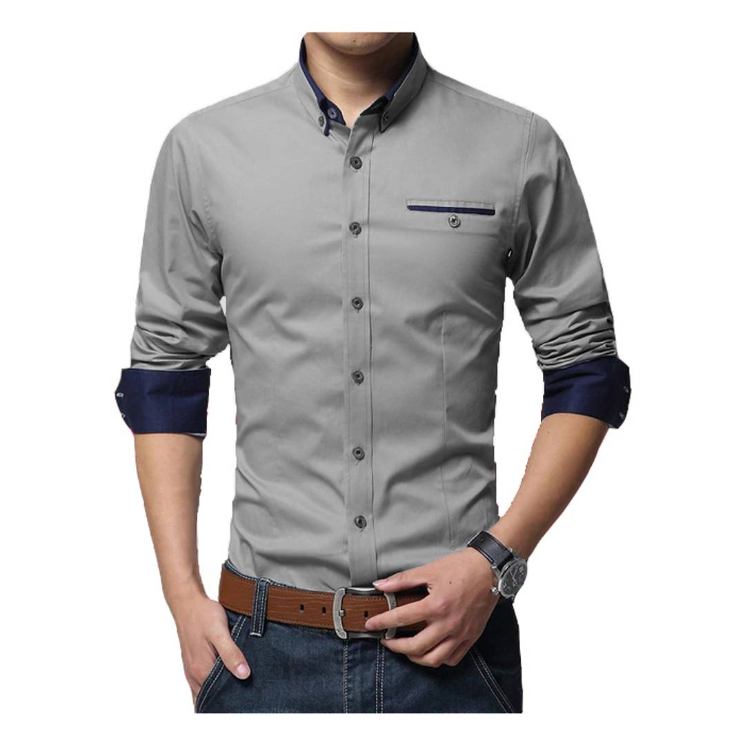 Grey Solid Cotton Slim Fit Casual Shirt