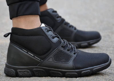 Men's Black Solid Mesh Sport Shoes