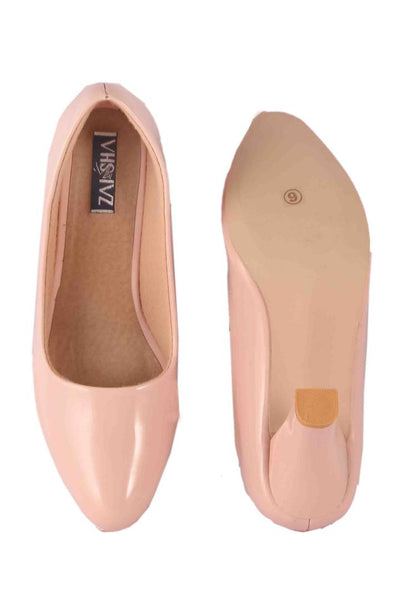 Comfy Nude Faux Leather Heels for Women