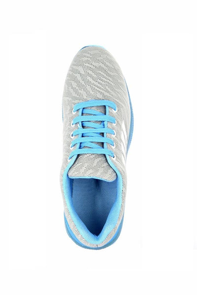 Grey Mesh Sports Sneakers For Men's