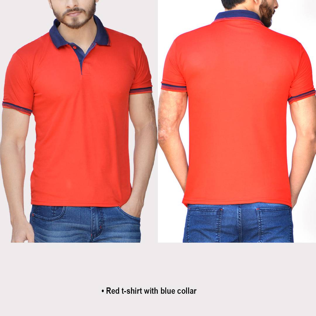 Red Solid Polyester Blend Polo T-Shirt