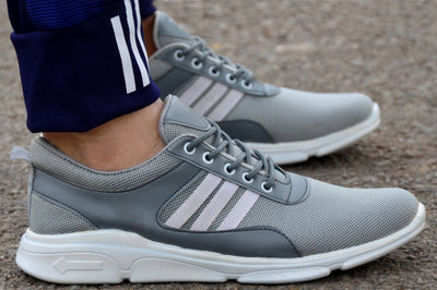 Men's Grey Striped Mesh Sports Running Shoes