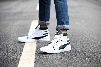Men's Synthetic Black White Flat Sneaker Boots