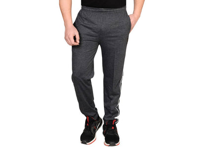 Men's Grey Cotton Blend Self Pattern Regular Track Pants