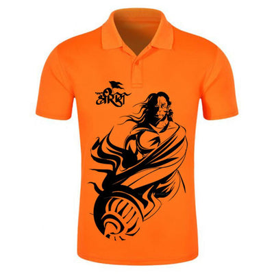 Men's Orange Printed Polycotton Polos
