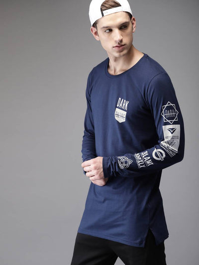 Blue Cotton Blend Round Neck Full Sleeves T-shirt For Men