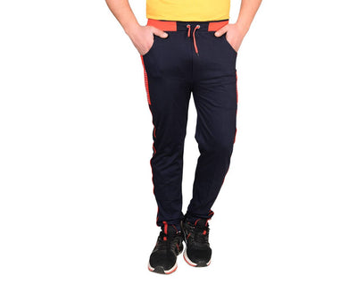 Men's Navy Blue Cotton Blend Solid Regular Track Pants